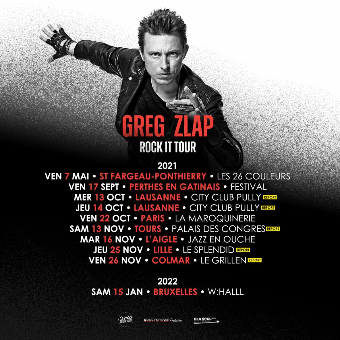 GREG ZLAP tRock it Tour nouvelles dates 2022
